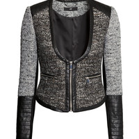 H&M - Textured-weave Jacket - Black melange - Ladies