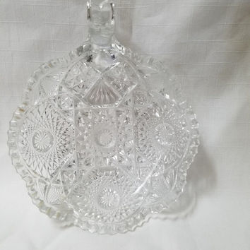 Christmas Sale Cut Glass Handled Candy Dish, Bowl  (826)