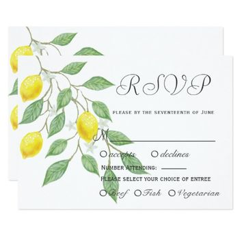 Modern Boho Lemon Summer Wedding RSVP Invitation