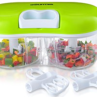Gourmia GCH9295 Twin Vegetable Chopper & Blender Double Sided Kitchen Gadget With Interchangeable Dicing & Blending Attachments, Durable BPA free food safe material