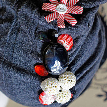 HALF PRICE SALE!  Ooak Slouchy Beanie Bling Knit gathered and embellished in fashionable beads and flowers