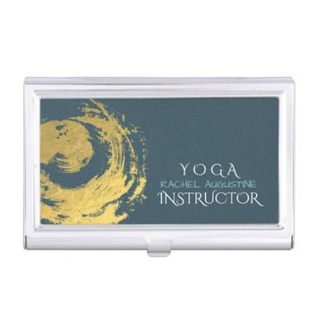 Elegant YOGA Blue & Gold ZEN Symbol Brushstrokes Business Card Holder