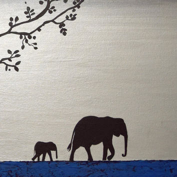 elephant animal original painting mother and baby african art landscape paintings on canvas wall nursery office decor 48 x 16 ""