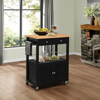 Denham collection two tone black and natural finish wood kitchen island cabinet with casters