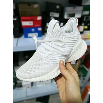 Adidas AlphaBounce HPC AMS Reflective  Trending Women Men Stylish Net Surface Breathable Sport Running Shoe Sneakers White I-A50-XYZ