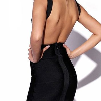 Casual Black Zipper Deep V Plus Size Backless Mini Dress