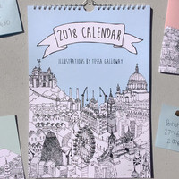 2018 City Illustrations Wall Calendar