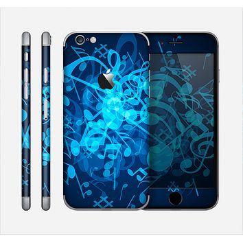 The Glowing Blue Music Notes Skin for the Apple iPhone 6