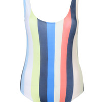 Multicolor Open Back Striped Swimsuit