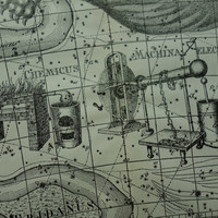 Old star chart Dutch vintage astronomy map of Cetus Whale Eridanus Apparatus Chemicus sign hemisphere constellation stars zodiac 10x15''