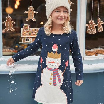 Jumping Meters Girl Dresses Long Sleeve 2017 Brand 100% Cotton Baby Dress Christmas Children Clothes Kids Dress Princess Vestido