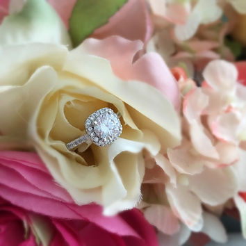 Square round diamond halo engagement ring, wedding ring, promise ring, simulated diamond 1.2 carat center flawless, simple, vintage ring