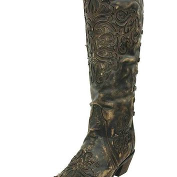 LMFYW3 Corral Brown-Bone Inlay Back Strap Boots A3299