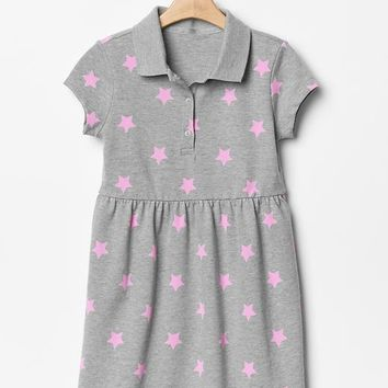 Gap Girls Printed Fit & Flare Polo Dress