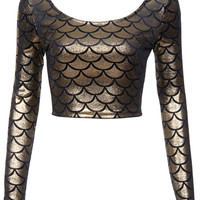 ROMWE | Golden Fish Scales Printed T-shirt, The Latest Street Fashion