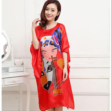 Plus Size 6XL Red Chinese Style Women Silk Rayon Robe Summer Lounge Sleepwear Home Dress Robe Gown Yukata Nightshirt S0107-A