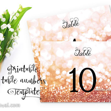 """7x5"""" table numbers editable template in rose gold glitter"""