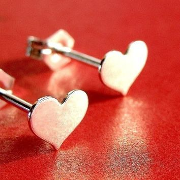 Valentine's Day Heart Sterling Silver Earrings Valentine Jewelry Gift Small Post Earrings Stud Earrings Studs