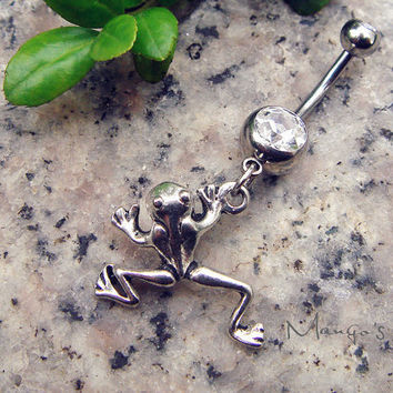 Frog Navel Piercing Ring, Navel Jewelry - Silver Frog Charm Dangle Navel Piercing Bar Barbell- B050