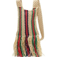 Gucci Linea Cestino Woven Fringed Messenger Bag