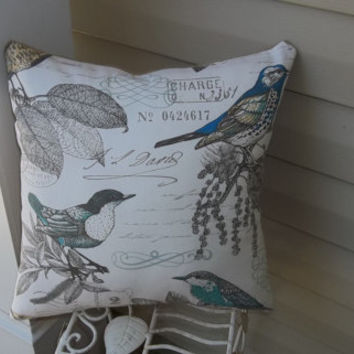 Burlap and Birds Pillow 17 X 17, decorative pillow, couch pillow, accent pillow