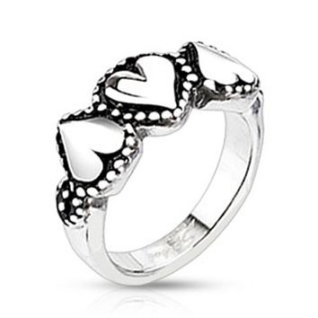 Triple Hearts Cast Ring Stainless Steel