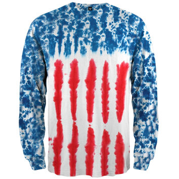 Patriotic Tie Dye Long Sleeve T-Shirt