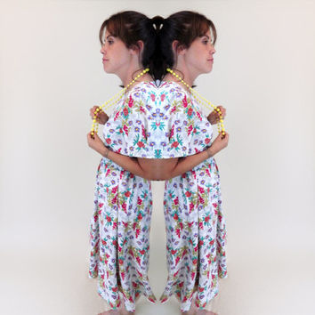 1980s White & Floral Church Dress // Beautiful Pinks Greens Purple // Shoulder Pads // Medium Large