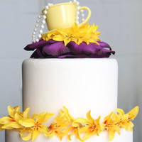 Tea Party Cake Topper (Yellow & Purple)
