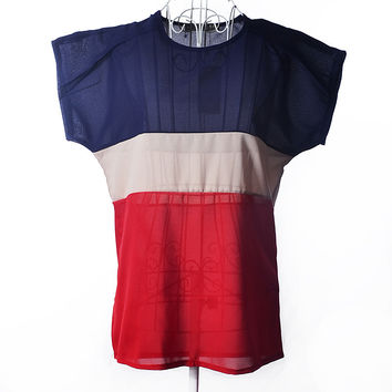2015 New European Style Chiffon Women T-shirt Patchwork Summer