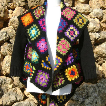 Patchwork Crochet Blanket Jacket Upcycled Granny Square Black Jacket S/M