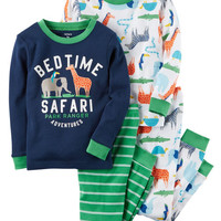 4-Piece Safari Snug Fit Cotton PJs