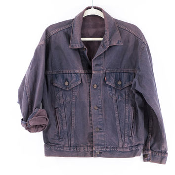 Levi Jacket Vintage 80s Purple Denim Jean Jacket Size Small/Medium