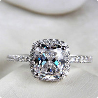 Sterling Silver Cushion Cut SONA Diamond Ring Engagement 3CT Classic Halo Style