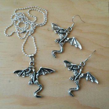 Antique Silver Dragon Set of Necklace and Earrings
