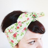 Vintage Inspired Head Scarf, Bandana Style, Pink and Green Floral, Rockabilly, Retro, 1940s, 1950s