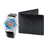 New York Knicks Watch & Bifold Wallet Gift Set (Black)
