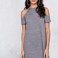 BDG Heathered Cold Shoulder T-Shirt Mini Dress - Urban Outfitters