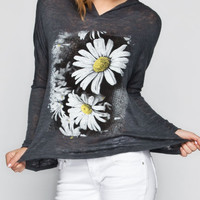 Michelle Daisy Womens Hooded Tee Charcoal  In Sizes