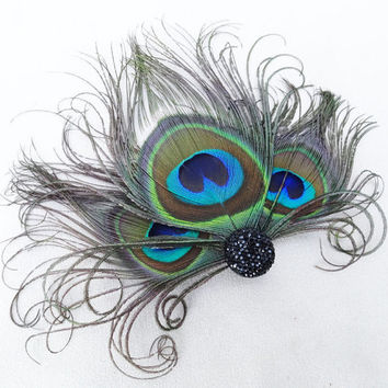 Weddings, Peacock Feather Fascinator, Hair Accessory, Bridesmaids, Head Piece, Hair Clip, Victorian, Jet Black, Batcakes Couture