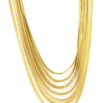Vintage MONET Gold 8 Layered Necklace, Gold Bib Necklace, Multi-Strand Chain Necklace, 1950s High End Designer Costume Jewelry, Gift for Her