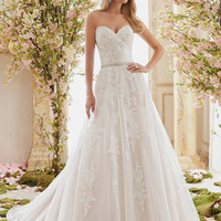 Voyage by Mori Lee 6834 Strapless Lace A-Line Wedding Dress – Off White by Bridal Expressions