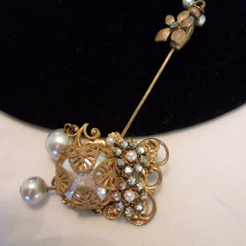 Miriam Haskell Vintage Stick Pin Sweater Glass Rhinestone Pearl Gold Plate