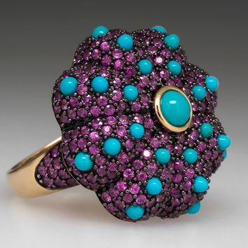 Carlo Viani Pink Sapphire Turquoise Cocktail Ring 14K Gold
