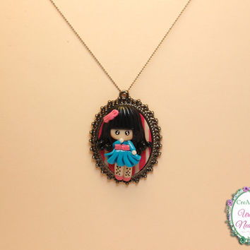 Cute Girl in Blue Dress, Little Doll Girl Necklace, Handmade Unique Polymer Clay Fimo Necklace in Gun Black Pierced Cabochon Base Setting