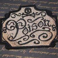 Poison Apothecary Skull Crossbones Label Iron On Embroidery Patch MTCoffinz