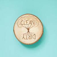 Rustic Wood Burned clean/dirty kitchen dishwasher magnet with tree of life