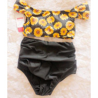 Retro Daisy Short Sleeve High Waist Bikini