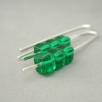 Emerald Green Cube Czech Glass Sterling Silver Earrings | The Silver Forge Handcrafted Jewellery