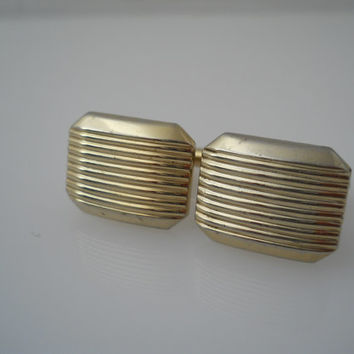 Hickok Cufflinks Etched Lines Deco Style Toggle Gold Tone Cuff Links